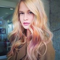 Long, colourful hairstyle for blonde girls with curls and highlights