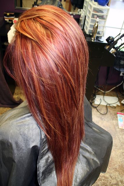 Long, red hairstyle