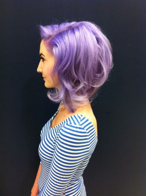 Medium-length, violet hairstyle