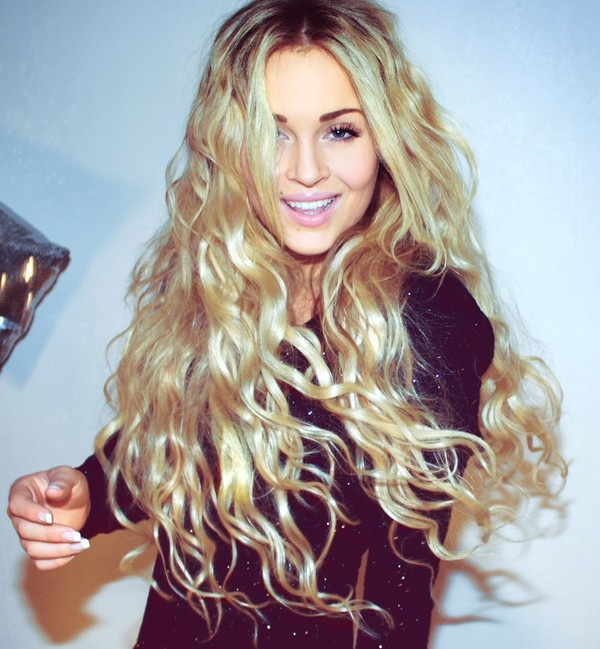 Long, wavy, curly hairstyle