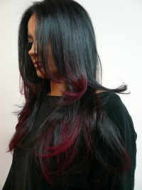 Long, straight, black hairstyle with red highlights