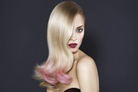 Long, blonde hairstyle with pink endings