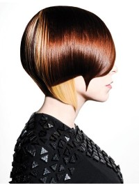 Short, bowl cut, brown haircut with stylized fringe