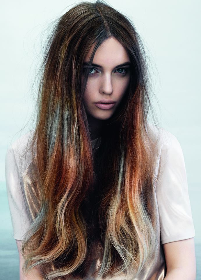 Long dark brown hairstyle with colourful endings