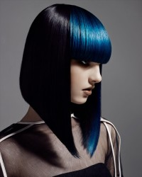 Medium-length, blue haircut