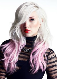 Long, messy looking hairstyle with violet endings