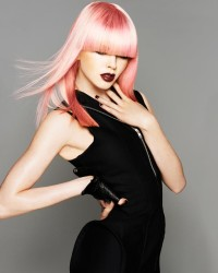 Long, light pink hairstyle with blunt bangs