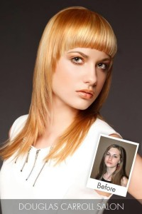 Medium-length, blonde hairstyle with baby fringe