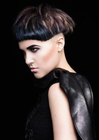 Short, black haircut with regular cut