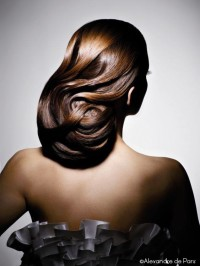 Long updo with fancy waves for brown haired girls
