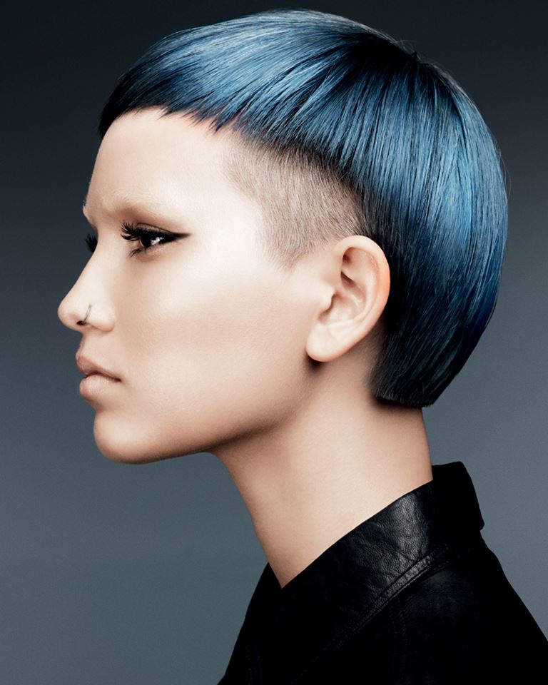 Short blue hair with bowl cut and shaved sides