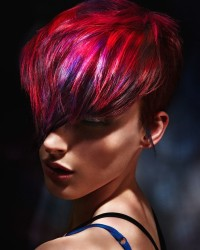 Short, red-pink hairsyle