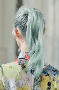Long, green pony tail