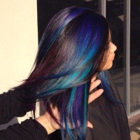 Long, colourful hairstyle