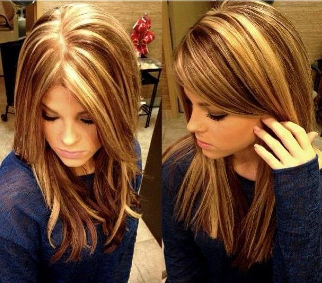 Long, brown hairstyle with blonde baleyage