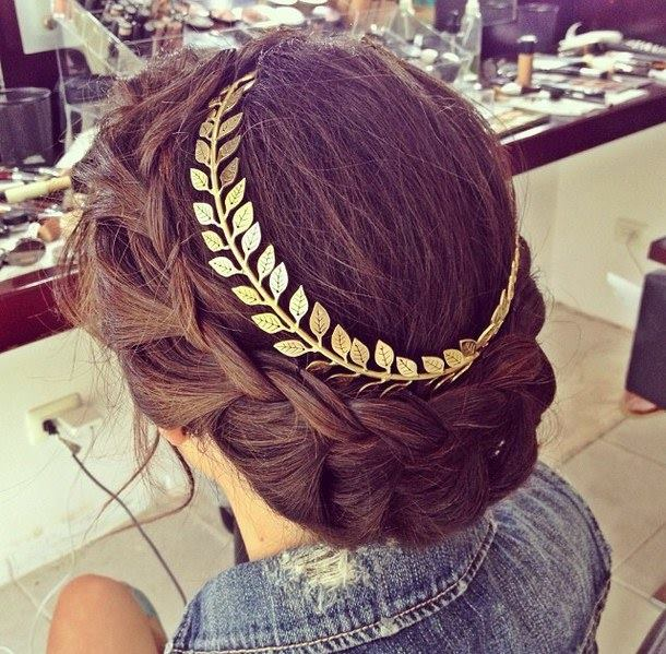 Beautiful, brown, crown braids updo with bay leaf hair band