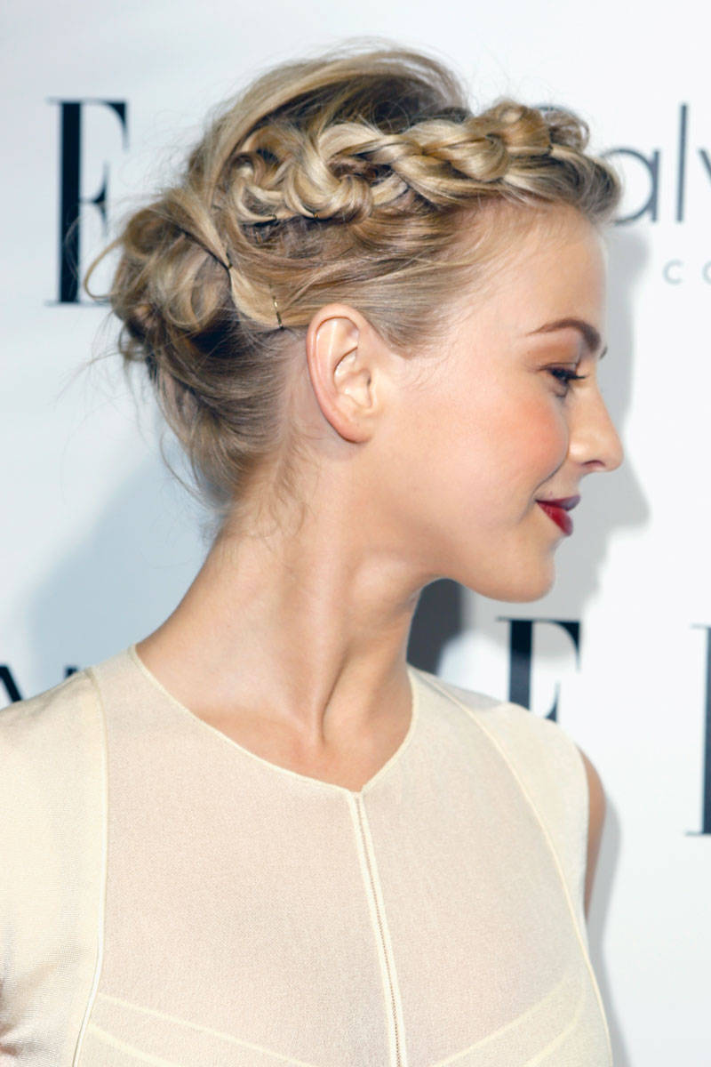 Lovely blonde updo with crown braid