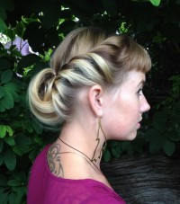 Braided updo for blonde hair with highlights