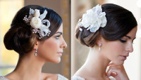 Updo for wedding with white accessories