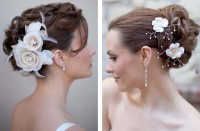 Updo for wedding with flowers