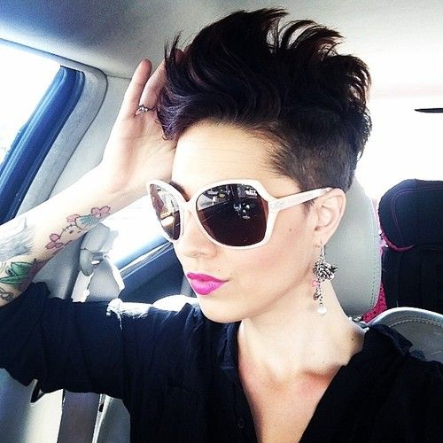 Short, choppy, pixie, black hairstyle