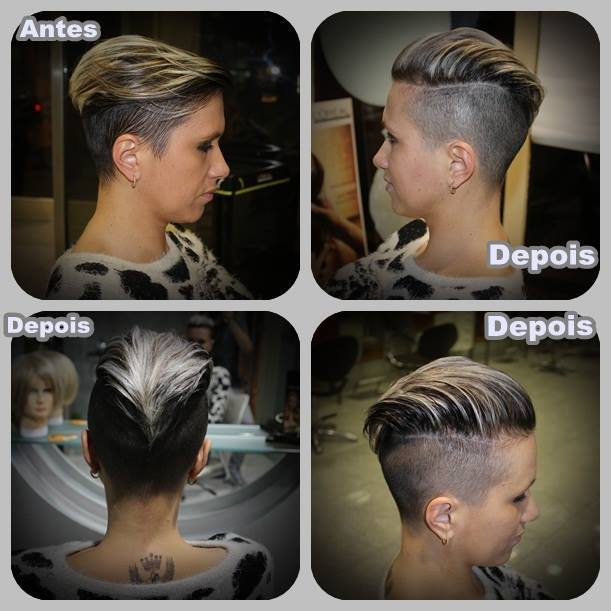 Short, two-toned, pixie haircut with shaved sides and blonde highlights