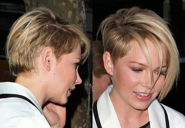 Short, Pixie, Blonde Haircut With Side-swept Bangs