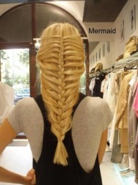 Long, blonde basket braids
