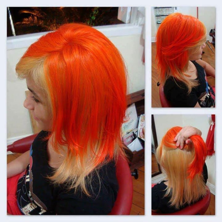 Long, orange coloured hairstyle
