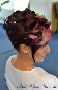 Fancy updo for coloured hair