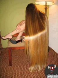 Long, straight, blonde hairstyle