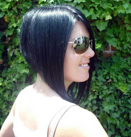 Short, straight, razored cut, black hair