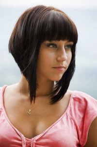 Short, dark red, bowl cut hair with blunt bangs and longer front