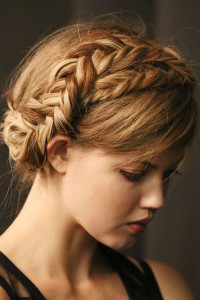 Blonde updo with crown braids