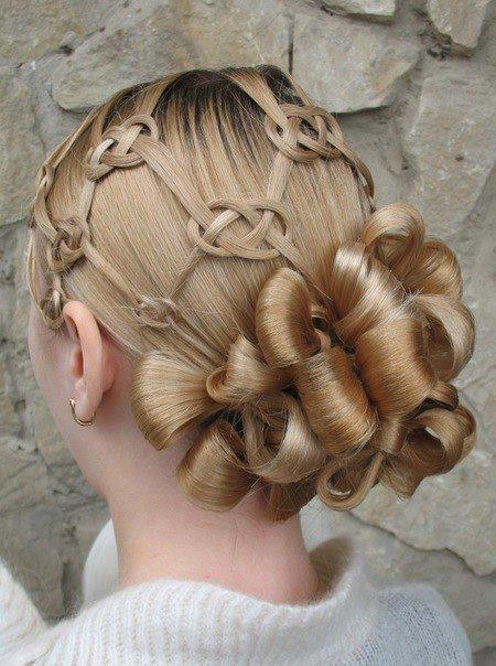 Elegant updo for blonde hair with basket braids and knot