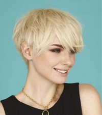 Short, pixie, messy looking hairstyle