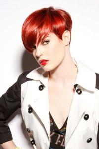 short natural red hair, bob