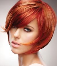 short red hair, bob