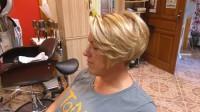 Short, blond hair with a bob haircut