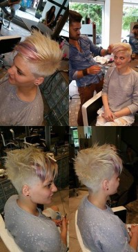 Short, blonde hairstyle with messy hair, shaved sides and purple streaks