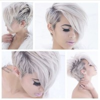 Short hairstyle for platinum, pixie girls