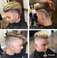 Short hairstyle with combed over hair and shaved pattern