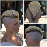 Short, pixie haircut with comb obver, shaved sides and trimmed undercut