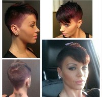 Short, classic pixie hairstyle with comb over and trimmed sides