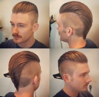Textured comb over haircut for men with shaved sides