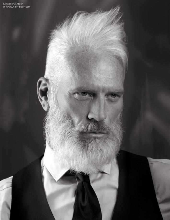 Short haircut for older men with beard and spiky fringe