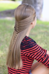 Long, straight hairstyle for girls with braids