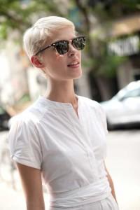 Short,, light blonde stylization