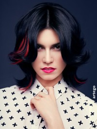 Dark hair with subtle red highlighted streaks