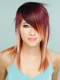 Medium-length red hair with light endings